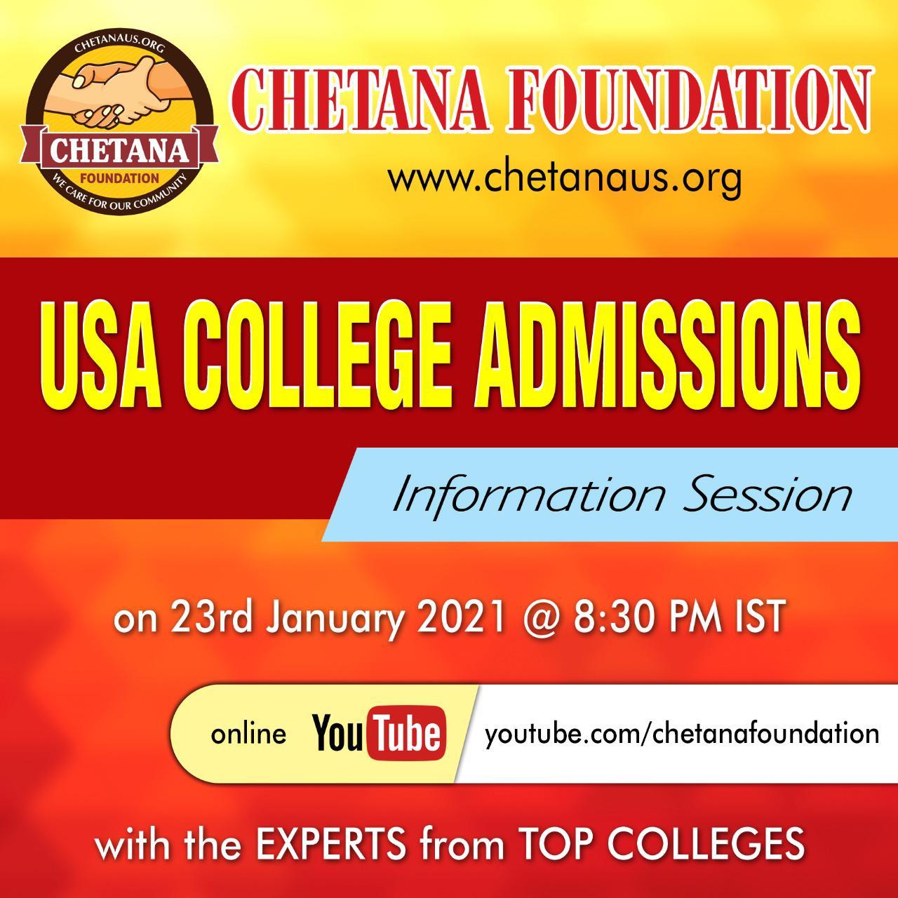 Chetana Foundation – USA College Admissions Information Session